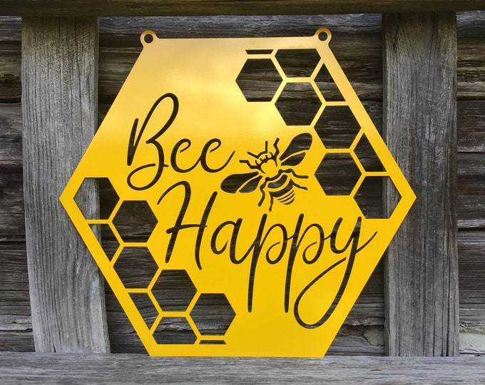 Bee Happy Outdoor Metal Honey Bee Sign | Beekeeping Custom Metal Sign | Gift for Beekeeper | Beekeeping Supplies | Outdoor Beehive Sign