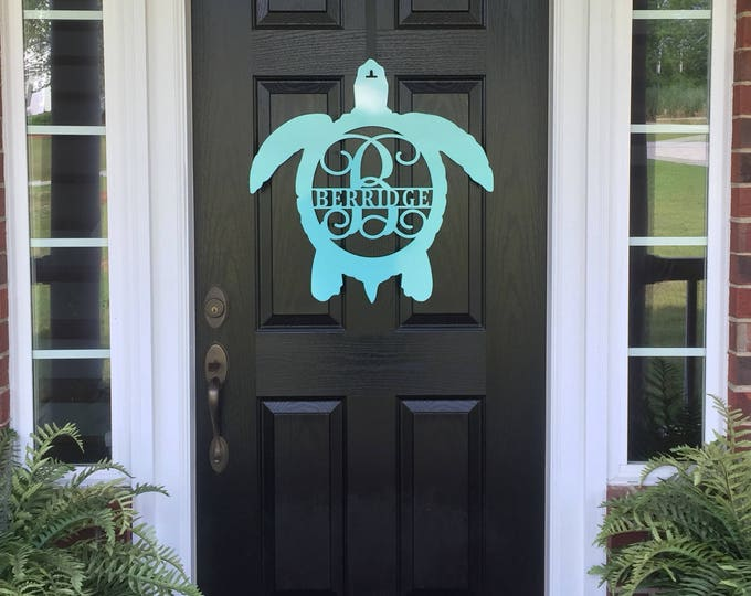 Metal Turtle Front Door Wreath/Monogram Door Hanger/Beach decor/ porch decor/monogram door hanger, Metal wall art/Metal sign/ Name sign/
