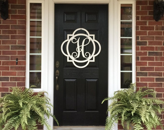 Modern Farmhouse Decor | Monogrammed Metal Door Wreath | Double Framed Initial Door Hanger | Monogram Letter Door Wreath |