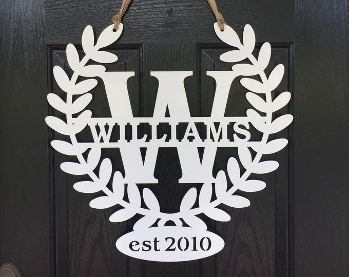 Personalization Metal Monogram Laurel Leaf Farmhouse Door Wreath w/ Ribbon,  Metal Door Hanger, Modern Farmhouse Decor | Custom Metal Sign