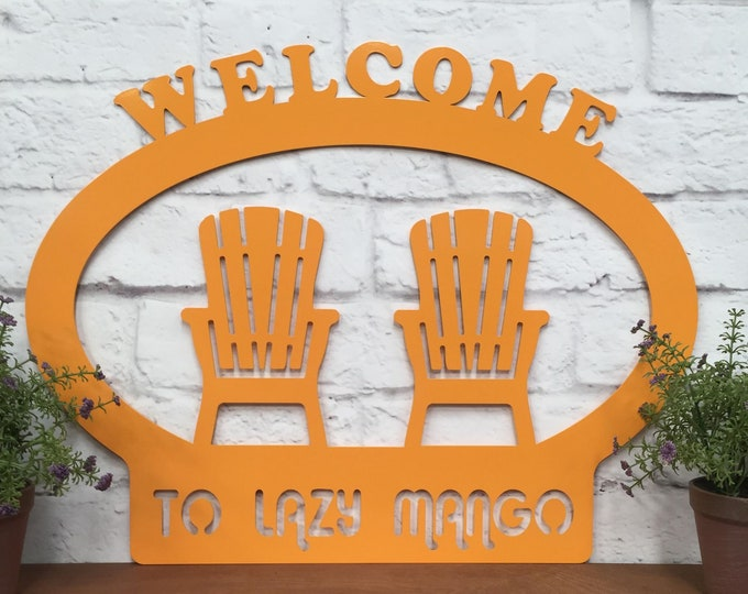 SUMMER WELCOME SIGN : Metal Welcome Sign for Summer, Fun Welcome Home Sign, Beach Metal Wall Decor, Nautical or Beach Themed Porch Decor
