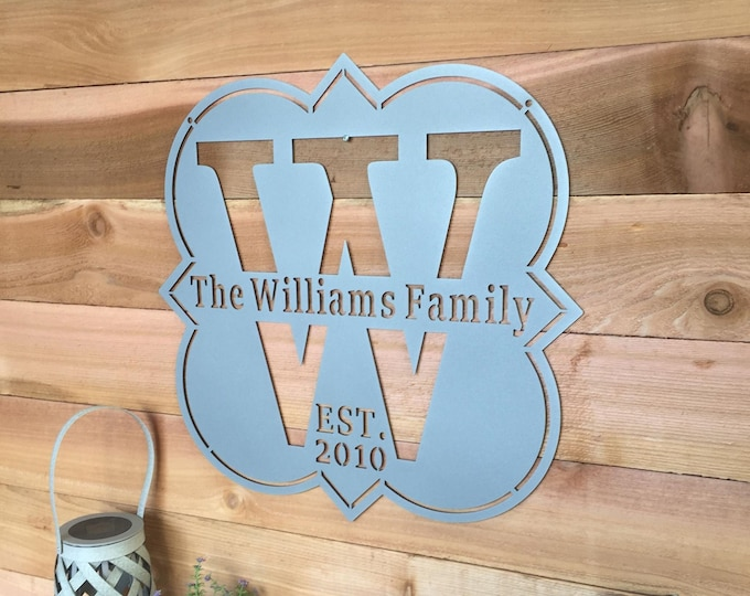 Personalized Bold Monogrammed Family Established Sign, Modern Farmhouse Metal Wall Art,