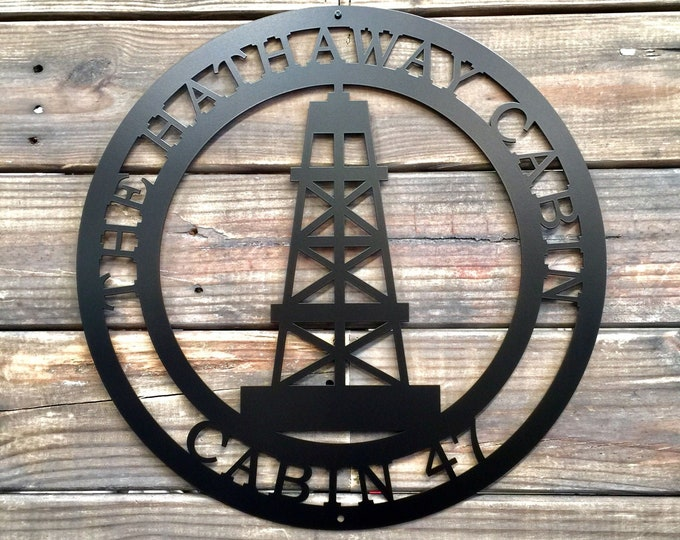 Oil Rig Personalized Door Hanger | Oil Rig Metal Art | Gift for Oil Rig Worker | Rustic Metal Wall Art |  Rustic Cabin Sign | Oil Field SIgn