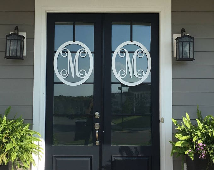 4 PC Set : 2 ea Oval Double Door Wreaths with matching hooks, Metal Monogram Door Wreath, Monogram Door Hanger, Front Door WREATHS,  Decor