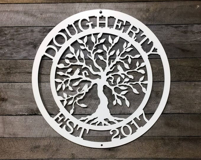 Metal Tree of life Door Hanger with Established date and Family Name