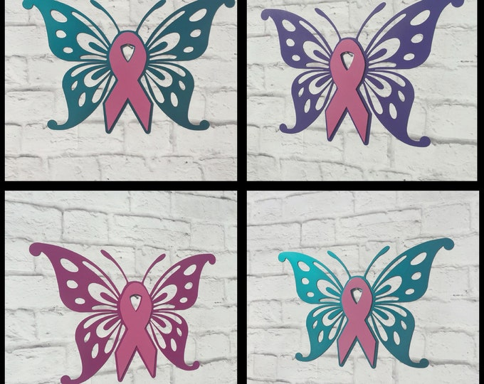 Breast Cancer Awareness Butterfly Custom Metal Sign - Cancer Ribbon Inspirational Sign - Choose Your Ribbon Color - Cancer Survivor Gift