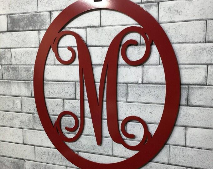 MONOGRAM DOOR HANGER, Year Round Door Wreath, Metal Monogram Door Wreath, Door Hanger, Front Door Decoration, Front Door Wreath, Initial