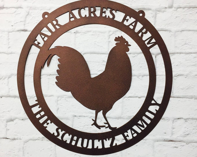 Metal Rooster Farm Sign | Chicken Sign | Farmhouse Sign | Personalized Roster Sign | Rustic Decor