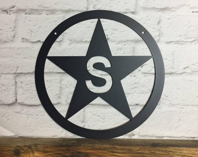 Metal Monogram Star Ranch Sign | Monogram Star Door Hanger | Wall Decor | Gift for Police Officer | Rustic Decor |  Farm Sign | Barn Sign