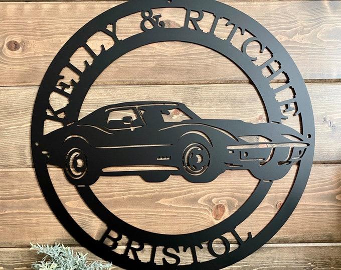 Personalized 1969 Chevrolet Corvette Established Metal Garage Sign | Race Car Custom Metal Sign| Man Cave Decor | Last Name Sign