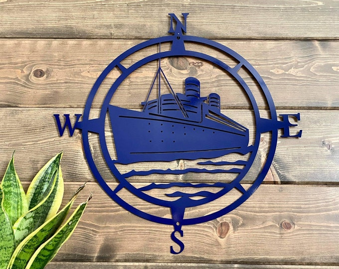Ship Compass Wall Art, Nautical Metal Wall Art, Nautical Outdoor Metal Art, Compass Wall Hanging, - Exclusive Copyrighted Design of HSA