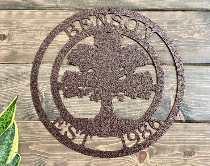 Personalized OaK Tree Custom Metal Sign| Metal Wall Art