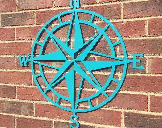 Steel Nautical Star Compass Wall Art,  Nautical Decor, Metal Wall Art,  Lake House Decor, Beach House Decor, Outdoor Metal Wall Art
