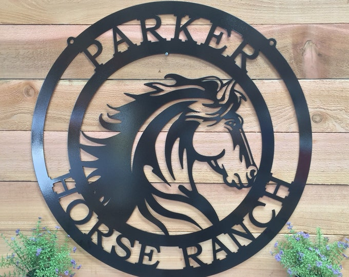 Majestic - Wild Horse Ranch Sign, Rodeo Sign,  Metal Farm Sign, Personalized ranch sign, Farm Gate sign, Custom Metal Sign, HSAFS4
