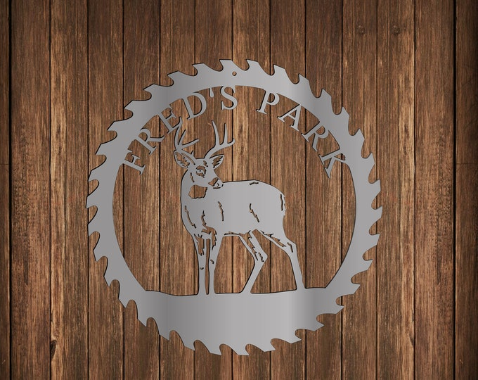 Personalized Deer in Sawblade Metal Sign, Custom Outdoor Cabin Sign, Gift for Deer Hunter, Unique Present for Dad, Sawblade Metal Wall Art