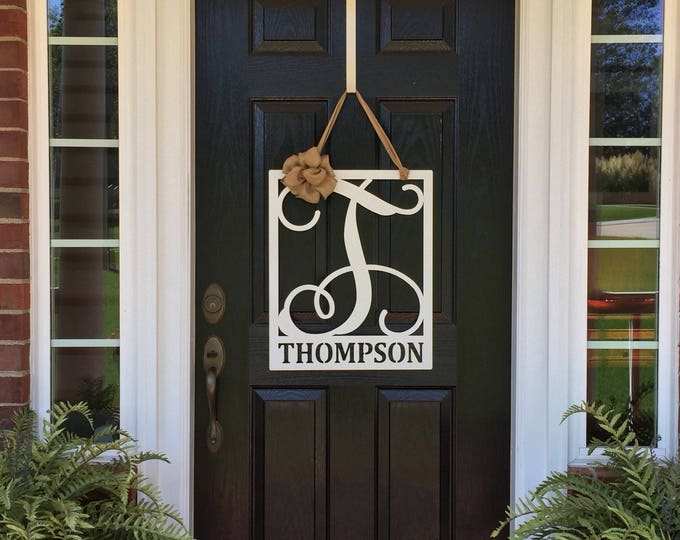 Rectangular MONOGRAMMED Door Wreath, Metal Door Hanger, Personalized Sign, Year Round Wreath,  Front Door Decor, Last Name Sign