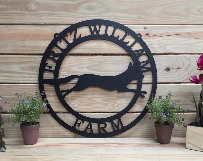 Fox Metal Sign, Ranch Sign, Personalized Metal Sign, Outdoor Weatherproof Sign, Farm Sign,