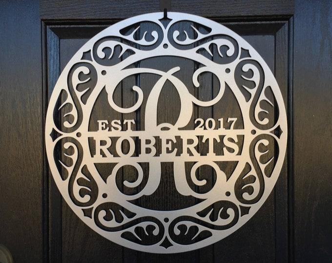 Metal Monogram Door Hanger with family name sign  Door Wreath, Personalized Decor, Metal Sign,
