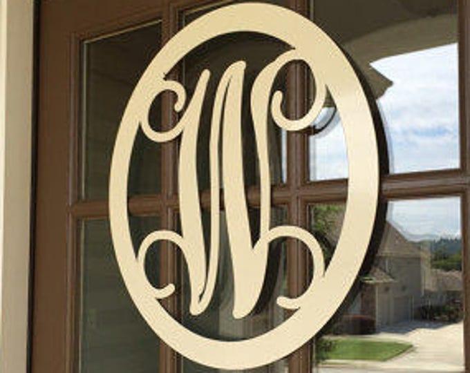 """24"""" MONOGRAMMED Door Wreath/ Monogram Door Hanger/ Metal Monogram /  Personalized Gift/Front Door Wreath/Sign/ Initial Door Wreath"""
