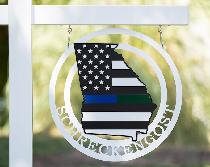 Thin Line American Flag GA State Custom Metal Sign | Multi Colored American Flag Sign | Personalized Thin Blue Line Flag Sign