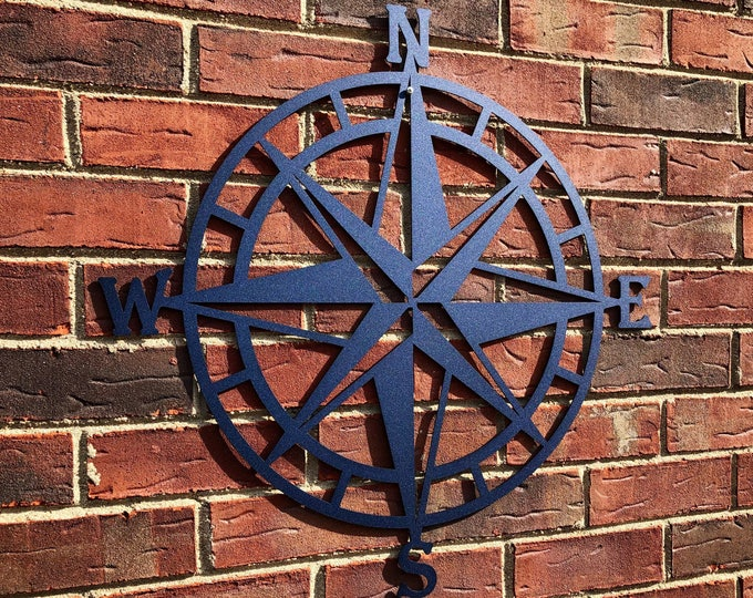 Metal Compass Rose Nautical Wall Art- Metal Wall Art/ Wall Hanging | Compass | Over 100 color choices
