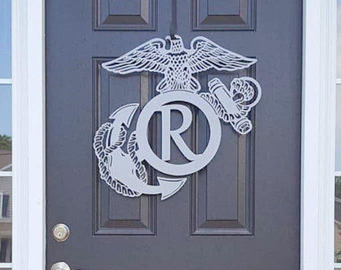 Monogram Marine Corp Sign, Marine Decor, Semper Fi Sign, Semper Fi, Semper Fidelas, Monogram Door Wreath, Personalized Sign, Custom Sign,