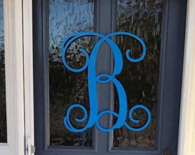 """Single Letter Monogram Door Wreath, large metal letters, monogram door hanger,wedding gift, door decor, outdoor wreath, 24"""""""