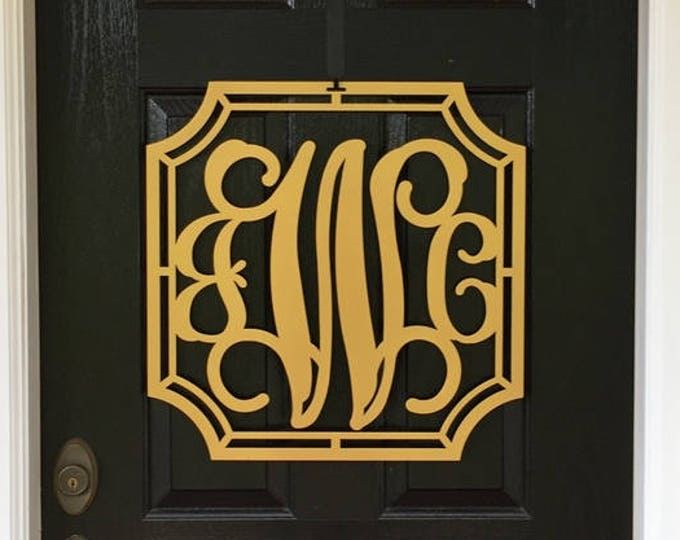SAMANTHA: Three letter Metal MONOGRAM DOOR WREATH OR Monogram Wall Letters