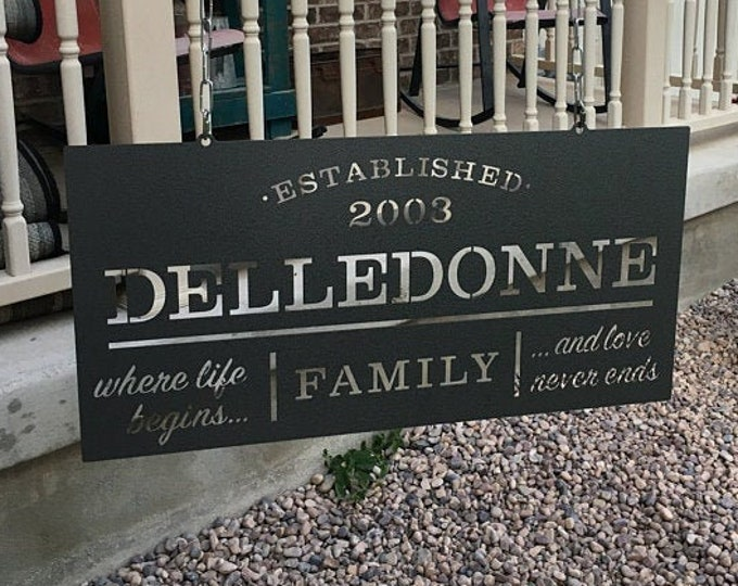 """Large Family Name Personalized Established Sign 3 Sizes Starting at 18"""" x 36"""" 
