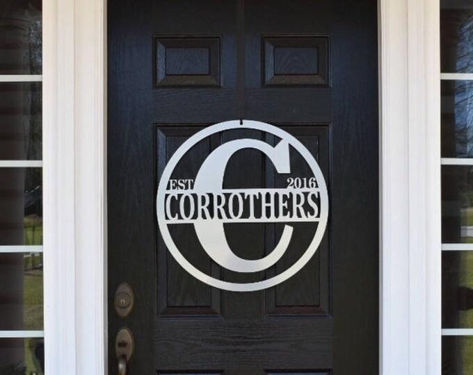 Monogram Door Sign, Last Name ,Gate Sign, Monogram Door Wreath, Fence Sign