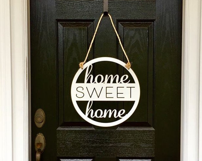 Home Sweet Home Metal Door Sign | Wall Sign | Entry Sign|  Front Door Decor | Porch Sign