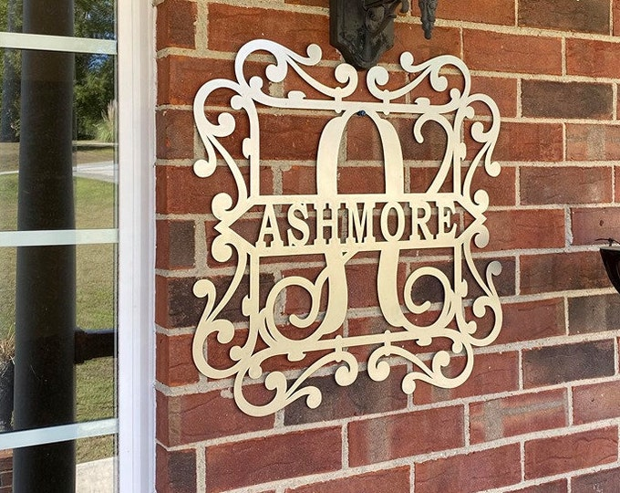 """Fancy Scroll PERSONALIZED METAL Family Name Sign with your name  