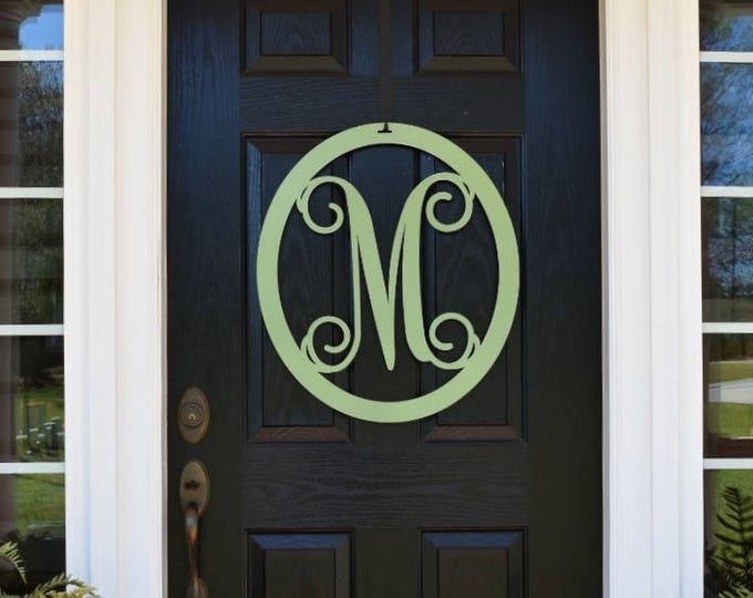 Letter Door Hanger, Front Door Wreath, Summer Wreath, Monogrammed Wreath, Large Monogram Letters, Initial Door Wreath OVLVN225