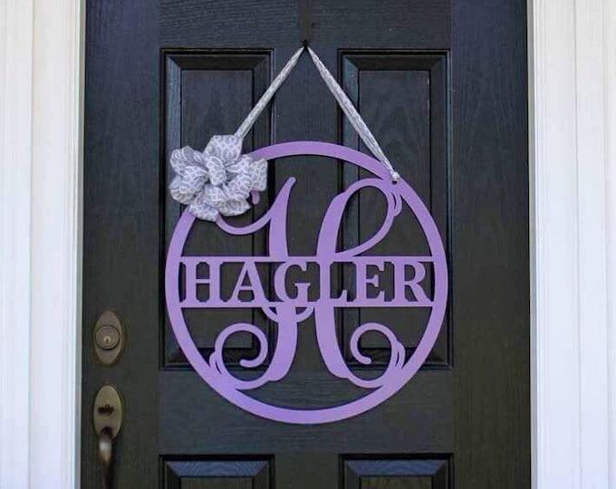 HAGLER: Last Name Sign, Front Door Hanger, Front Door Wreath, Front Door Decor, Metal Sign, Monogram Door Sign, Metal Letter, Family Name