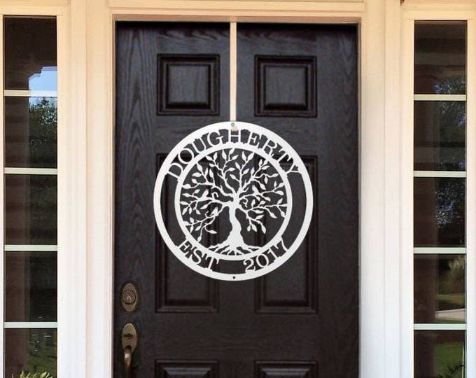 Personalized Metal Tree of Life with Family established date   Metal Wall Art