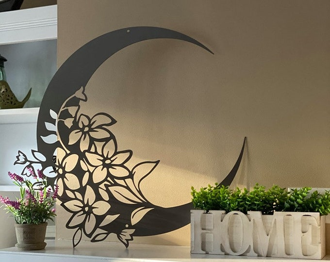 Garden Modern MOON Metal Wall Art, Large Outdoor FLORAL MOON Wall Decor, Patio Outdoor Decoration, Nautical Room Decor