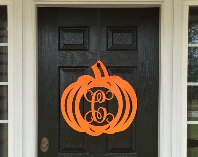 Pumpkin Fall Decor | Metal Pumpkin Monogram Door Wreath |  Fall Door Wreath | Fall Wall Hangings | Monogram Decor by HSA