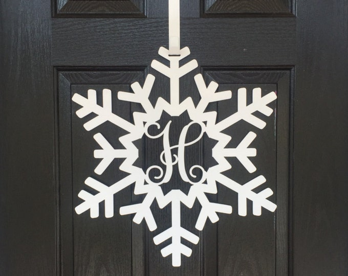 Snowflake Monogram Door Wreath, Front door Wreath, Frozen Snowflake Monogram Door Wreath, Snowflake door decorations,
