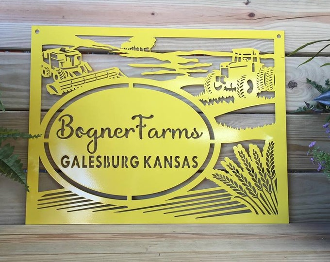 Metal Farm Sign with Tractor & Combine Farm Scene  | Custom Farm Sign |  Tractor Farm Sign | Custom Steel Sign  |  HSFS1002
