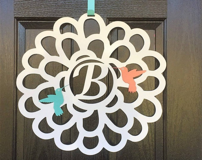 Metal Flower with Hummingbirds Monogram Door Wreath & hook set/ Summer Wreath/ Spring Wreath/ front door wreath/Monogram Door Hanger/ Hummin