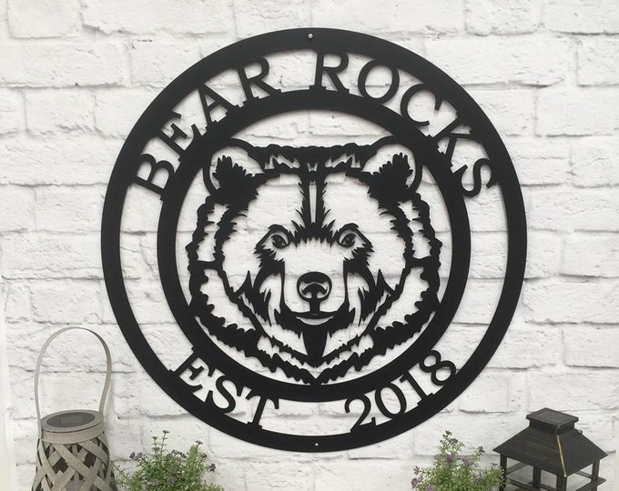 Personalized Metal Bear Sign | Welcome Sign | Cabin Sign | Lodge Sign | Rustic Sign | Custom Metal Sign |