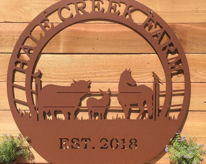 Bird, Horse, Cow, Donkey Ranch Sign, Rodeo Sign,  Metal Farm Sign, Personalized ranch sign, Personalized Sign, Custom Metal Sign