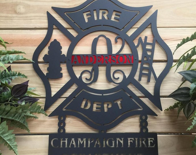 Maltese Cross Wall Art , Firefighter, Firefighter gift, Firefighter decor, Fire Fighter by HSA