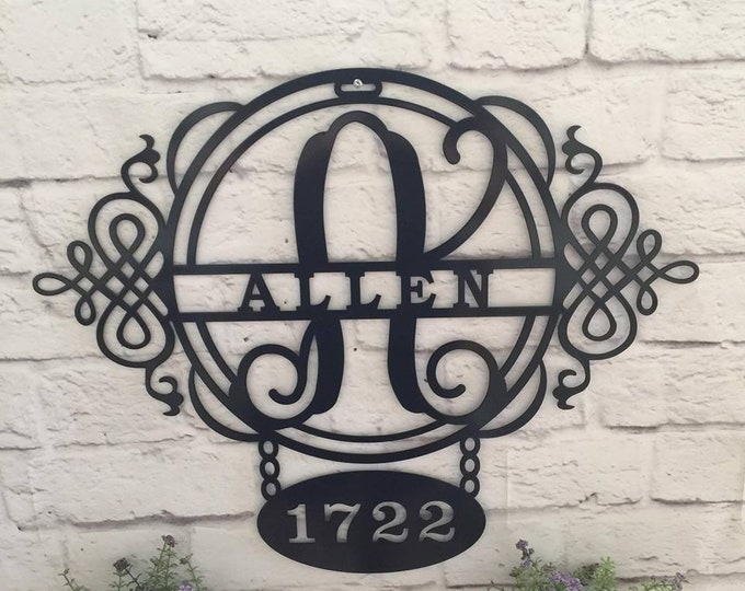 Custom Address Sign, House Number, Plaque,  Elegant, Outdoor Metal Sign, - Exclusive design by HouseSensationsArt