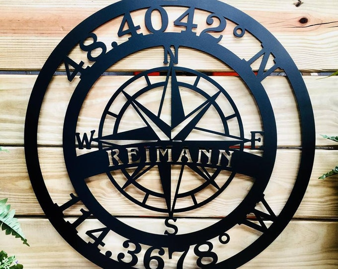 GPS Coordinates Personalized Sign, Last Name Sign, Established Sign, Lake House Decor, Last Name Wall Decor, Nautical Compass