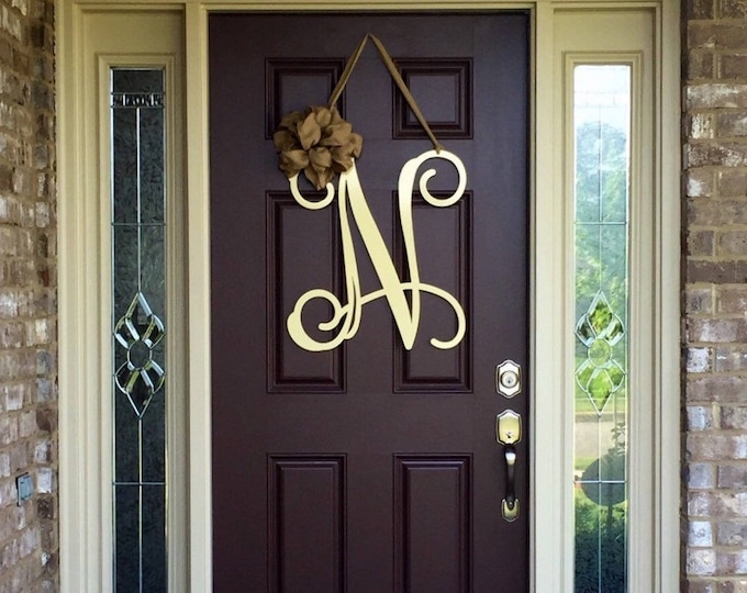 Metal Initial door wreath w/ ribbon, Front Door Wreaths, Monogram Door Hanger, Monogrammed Wreath, Front Door Letters, Outdoor Wreath, Decor