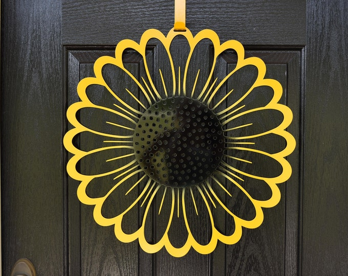 Sunflower Door Hanger/ Sunflower Metal Wall Art/ Fall Door Wreath