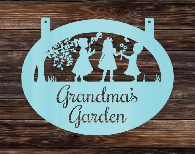 PERSONALIZED FLOWERBED SIGN : Custom Metal Garden Sign for Her, Momma's Garden Metal Yard Sign, Weatherproof Family Sign