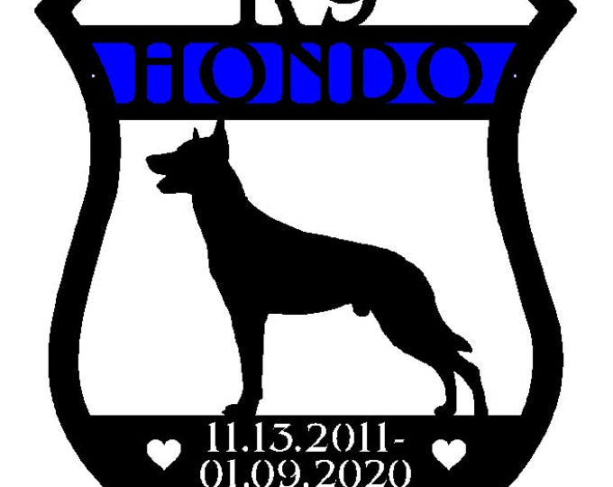 Personalized K9 Malinois Police Badge Sign | BELGIAN MALINOIS Personalized Memorial | K9 Pet Memorial | Gift for K9 Handler | Custom Sign