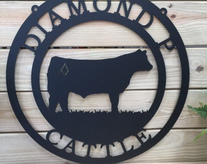 Cattle Farm sign | Cow Sign | Personalized Farm Sign| Barn Sign| Ranch Sign| Farmhouse Decor | Farmhouse sign   |  Brand Farm Sign